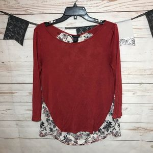 Ann Taylor Mixed Fabric Floral Knit Blouse M